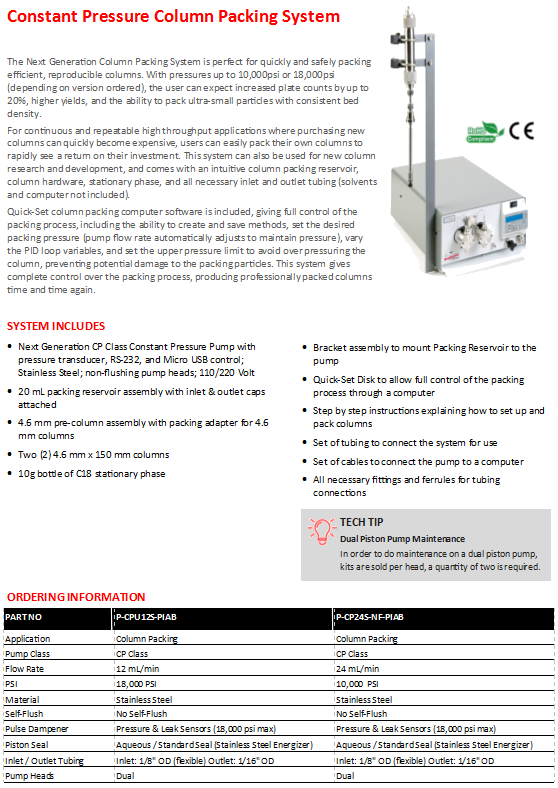 Greyhound Chromatography HPLC Pump Specifications Chart