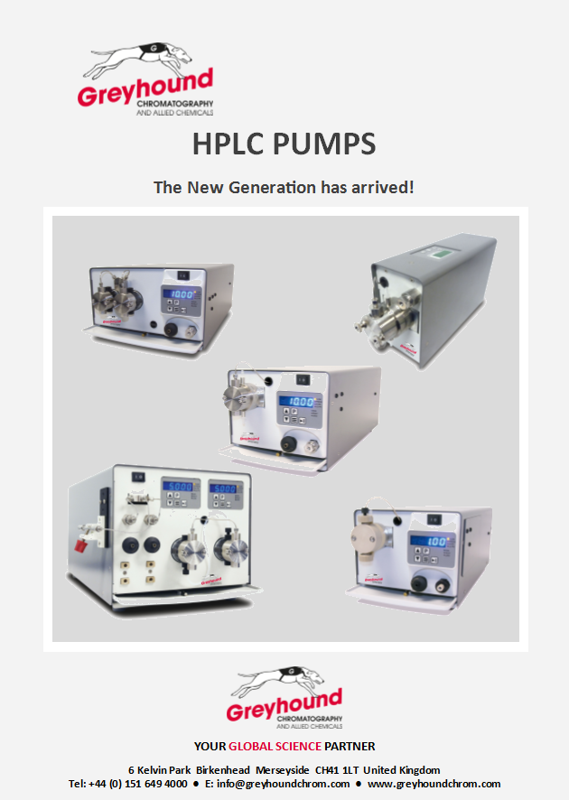 Greyhound Chromatography HPLC Pumps Catalogue Cover Image