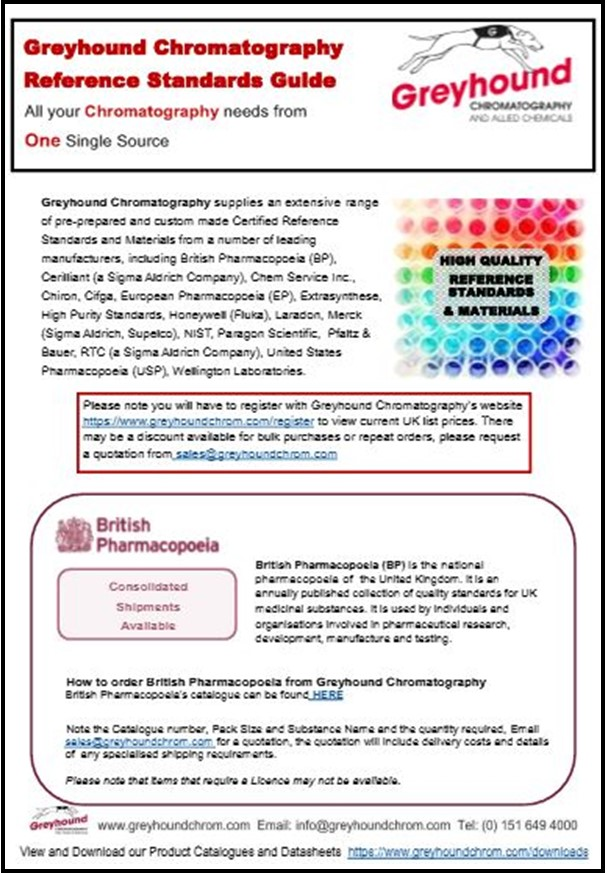 Greyhound Chromatography reference Standards Guide