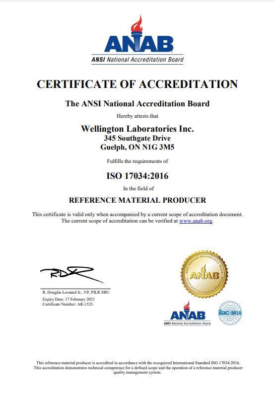 Wellington Laboratories Guide 34 Certificate