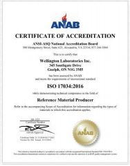 Wellington Laboratories Guide 34 Certificate