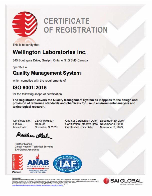 Wellington Laboratories ISO Certificate
