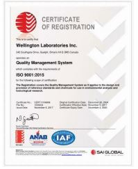 Wellington Laboratories ISO 9001 Certificate