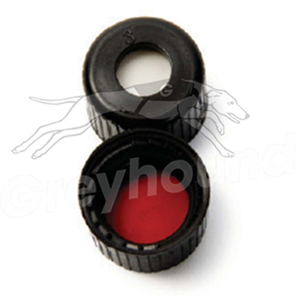 Picture of 8mm Open Top Screw Cap - Black, with Prefitted Silicone/PTFE Liner, 1.3mm thick