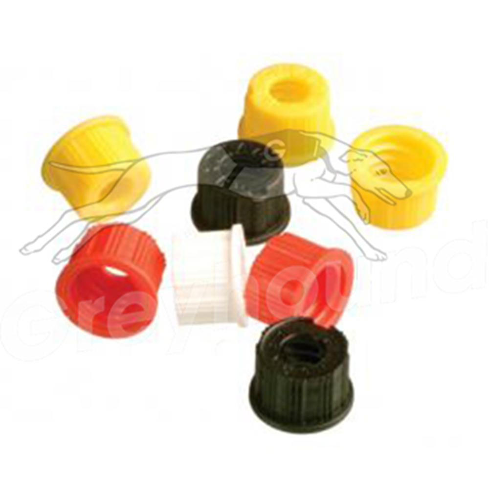Picture of 9mm Open Top Screw Cap - Black, with Flange for Japanese Instruments and Silicone/PTFE Liner, 1.3mm thick