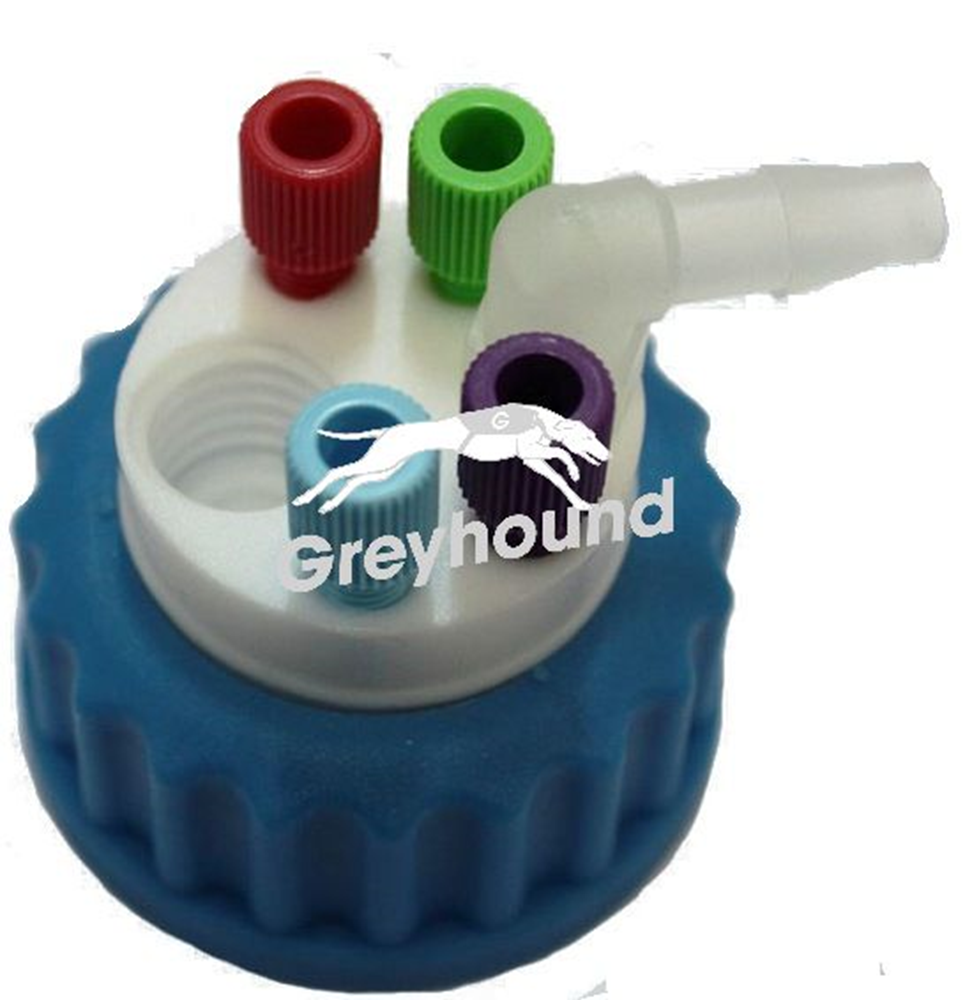 """Picture of Smart Waste Cap GL45 with 1 charcoal cartridge filter emplacment + 4 entries (1/8"""" to 1/16"""") + 1 barbed tube fitting (6-9 mm)"""