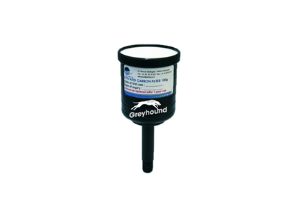 Activated charcoal cartridge filter, 100gms loaded with KOH for acid vapors
