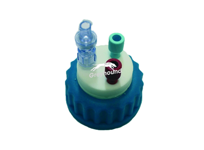 "Picture of Smart Healthy Cap GL45 with 2 outlets (1/8"" to 1/16"" ) + 1 air check valve"