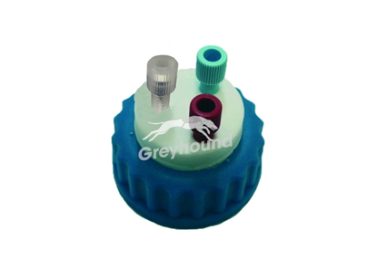 "Smart Healthy Cap GL45 with 2 outlets (1/8"" to 1/16"" ) + 1 air check valve for amines and strong polar solvent vapors"