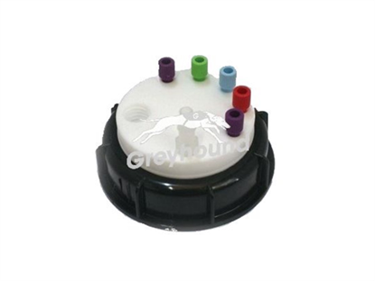 "Smart Waste Cap S90 with 1 charcoal cartridge filter emplacement + 5 entries (1/8"" to 1/16"") + 1 barbed tube fitting (6-9 mm)"