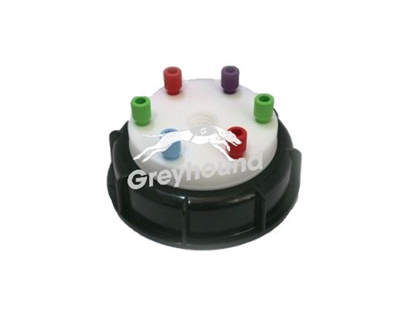 "Smart Waste Cap S90 with 1 charcoal cartridge filter emplacement + 6 entries (1/8"" to 1/16"")"