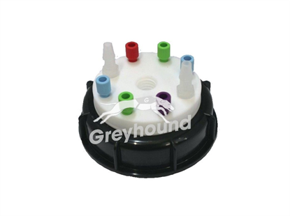 """Smart Waste Cap S90 with 1 charcoal cartridge filter emplacement + 6 entries (1/8"""" to 1/16"""") + 2 barbed tube fittings (6-9 mm)"""