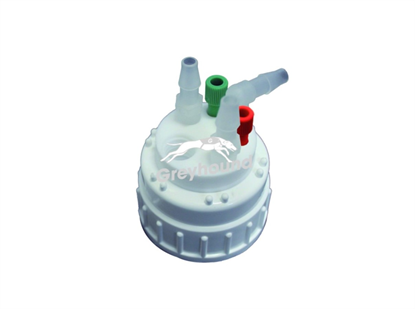 """Smart Waste Cap B53 Nalgene bottle neck with 2 Universal connectors (1/8"""" to 1/16""""), 3 barbed tube fittings (6-9 mm) and 1 charcoal cartridge filter port"""