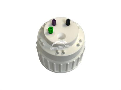 "Smart Waste Cap B53 Nalgene bottle neck with 3 Universal connectors (1/8"" to 1/16""), 1 charcoal cartridge filter port"