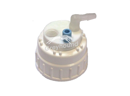"""Smart Waste Cap B83 Nalgene bottle neck with 1 Universal connector (1/8"""" to 1/16""""), 1 barbed tube fitting (6-9 mm) and 1 charcoal cartridge filter port"""