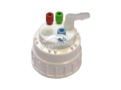 """Smart Waste Cap B83 Nalgene bottle neck with 3 Universal connectors (1/8"""" to 1/16""""), 1 barbed tube fitting (6-9 mm) and 1 charcoal cartridge filter port"""