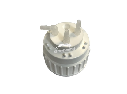 Smart Waste Cap B83 Nalgene bottle neck with 3 barbed tube fittings (6-9mmID) and 1 charcoal cartridge filter port