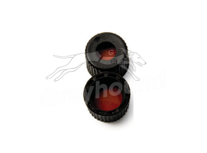 8mm Open Top Screw Cap - Black, with Type 8 Rubber/PTFE Liner