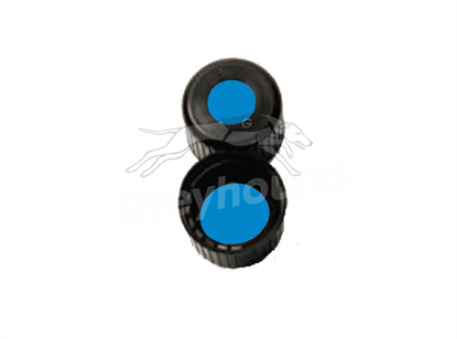 8mm Open Top Screw Cap - Black, with Prefitted Blue Silicone/PTFE Liner, 1.2mm thick