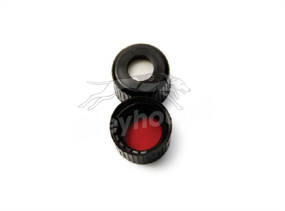 8mm Open Top Screw Cap - Black, with Prefitted Silicone/PTFE Liner, 1.3mm thick