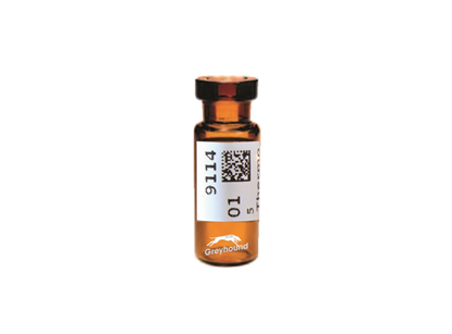 Virtuoso 2mL Crimp Top Wide Neck Vial, Amber Glass with V-Patch