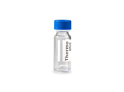 Virtuoso 2mL Screw Top Wide Neck Vial and Cap Combination Pack - Clear Glass with V-Patch and 9mm Open Blue Cap with PTFE/Red Rubber Liner