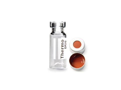 Virtuoso 2mL Crimp Top Wide Neck Vial and Cap Combination Pack - Clear Glass with V-Patch and 11mm Open Cap with PTFE/Red Rubber Liner