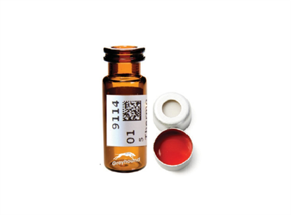Virtuoso 2mL Snap Cap Wide Neck Vial and Cap Combination Pack - Amber Glass with V-Patch and 11mm Clear Cap with White Silicone/Red PTFE Liner