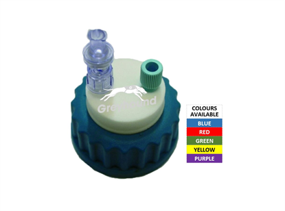 """Smart Healthy Cap -Blue, GL45 with 1 outlet (1/8"""" to 1/16"""" ) + 1 air check valve"""