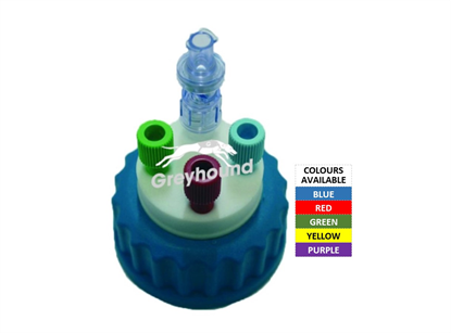 """Smart Healthy Cap - Blue, GL45 with 3 outlets (1/8"""" to 1/16"""" ) + 1 air check valve"""